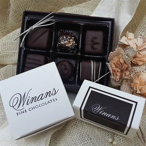 Assorted Dark Chocolates, 6 Piece Box