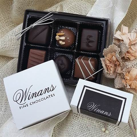 Assorted Milk and Dark Chocolates, 6 Piece Box