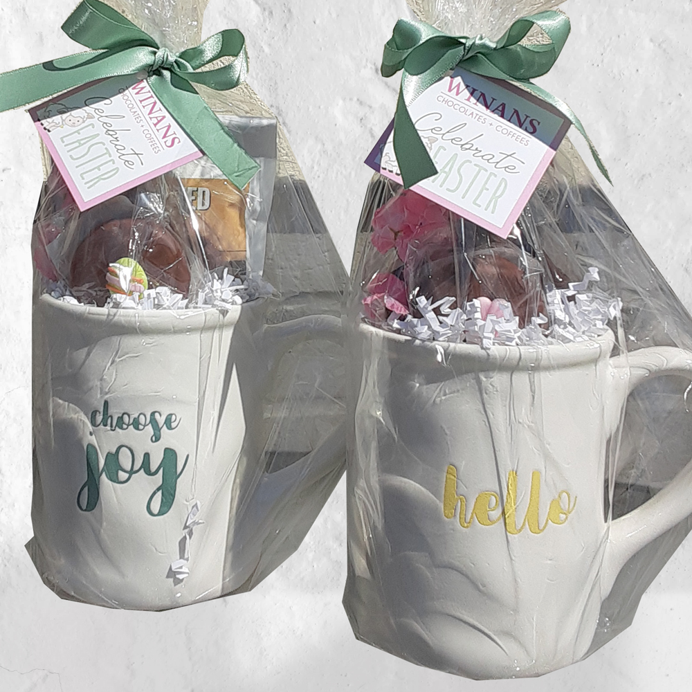 Sayings mugs each filled, Easter 2020 (spring too)