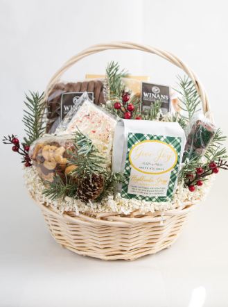 Seasonal Christmas Basket (medium), Filled