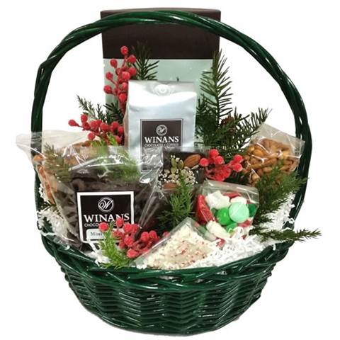 Green Christmas Basket (large), Filled