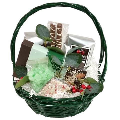Green Christmas Basket (medium), Filled