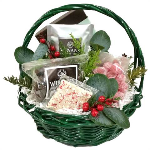 Green Christmas Basket (small), Filled