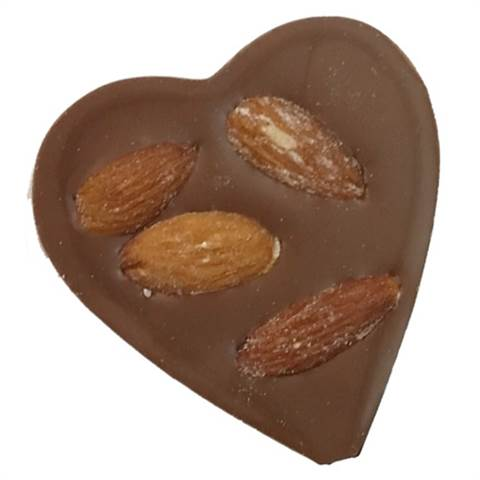 Milk Chocolate Foiled Heart with Almonds, 1oz.