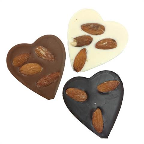 Chocolate Almond 1oz Hearts
