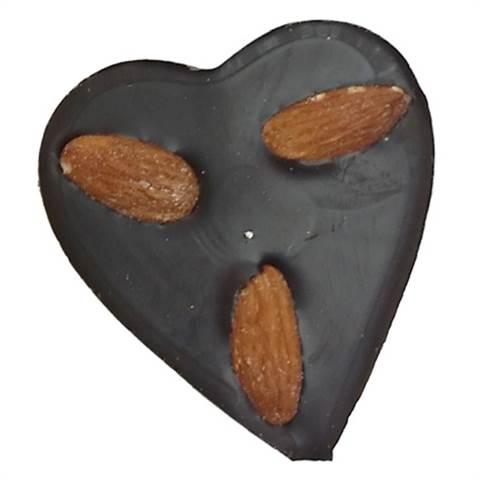 Dark Chocolate Foiled Heart with Almonds, 1oz.