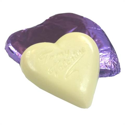 White Chocolate Foiled Heart, 2oz.