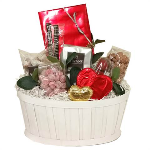 Valentine White Gift Basket (large), filled