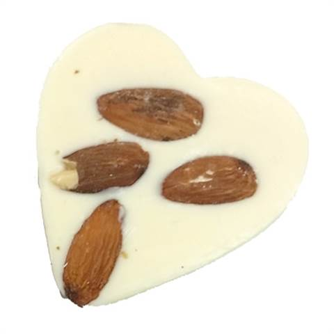 White Chocolate Foiled Heart with Almonds, 1oz.